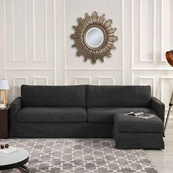 Grey Woven Linen Slipcover Sectional Sofa Couch with Reversible Chaise Ottoman, Modern Contempor ...