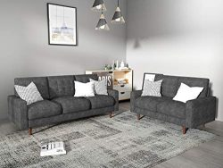 Container Furniture Direct S5439-2PC Modern Tufted Velvet Living Room Sofa Set, 2 Piece, Gray