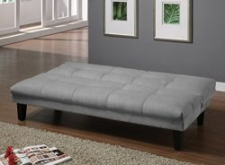 Major-Q Grey Velvet Fabric Pillow Top Convertible/Adjustable Futon Couch Sofa Bed (SH8513651)