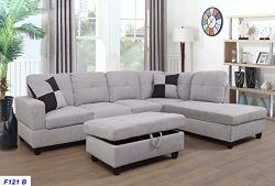 Lifestyle Furniture Right Facing 3PC Sectional Sofa Set,Flannelette,Grey White(LSF121B)