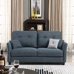 "HONBAY Contemporary Upholstered 61"" in Sofa Couch Loveseat, Dark Grey"