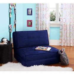 Flip Chair Convertible Sleeper Dorm Bed Couch Lounger Sofa in Blue Sapphire