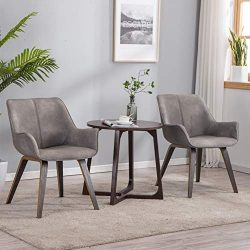 YEEFY Gray Leather Living Room Room Chairs with arms Contemporary Living Room Chairs Set of 2 (A ...