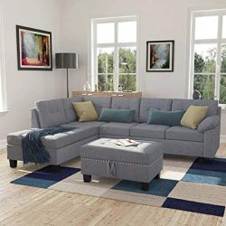 Harper & Bright Designs 3-Piece Sofa Sectional with Chaise Lounge and Storage Ottoman Sofas  ...
