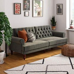 Novogratz 2342479N Upholstered Cassidy, Convertible Sofa Bed, Gray Velvet Futon