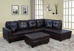 Lifestyle Furniture 3-Pieces Right Facing Sectional Couch with Chaise,Ottoman,Living Room Sectio ...