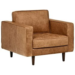 Rivet Aiden Tufted Mid-Century Modern Leather Accent Chair, 35.4″W, Cognac