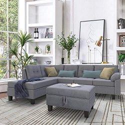 BEIZ TRADING Sectional Sofa Set with Chaise Lounge and Storage Ottoman Nail Head Detail for Livi ...