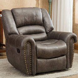 Bonzy Home Leather Recliner Chair, Single Seat Ergonomics Sofa with Cushion and Manual Adjustabl ...