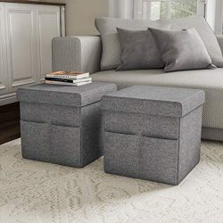 Lavish Home 80-FOTT-1 Foldable Storage Cube Ottoman with Pockets – Multipurpose Footrest O ...