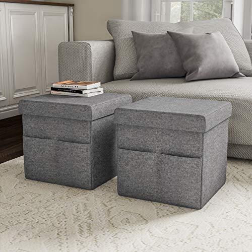 Lavish Home 80-FOTT-1 Foldable Storage Cube Ottoman with Pockets – Multipurpose Footrest O ...