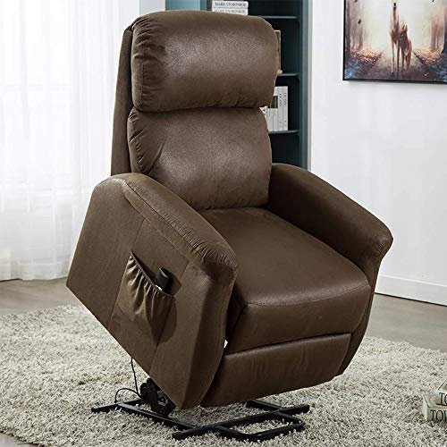 Bonzy Home Power Lift Recliner Chair, 3 Position & Side Pocket, Soft Fabric Recliner with Re ...