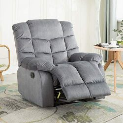 BONZY HOME Recliner Chair, Microfiber Fabric Living Room Sofa, Manual Reclining Single Couch Com ...