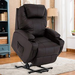 Mecor Power Lift Chair Recliner for Elderly Electric Lifting Chair Bonded Leather Sofa Chair wit ...