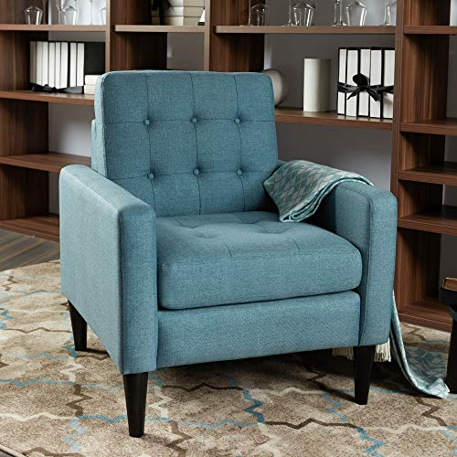 LOKATSE HOME Mid-Century Modern Recliner Accent Fabric Arm Chair Comfy Upholstered Single Sofa f ...