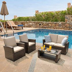 Walsunny Quality Outdoor Living,Outdoor Patio Furniture Sets,5 Piece Conversation Set Wicker Rat ...