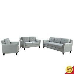 3 Pieces Living Room Sofa Furniture Set, Button Tufted Sectional Armrest Chairs for Single, Love ...