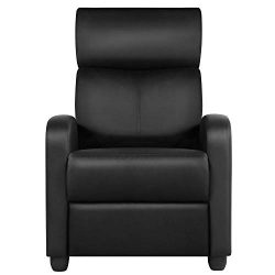 Yaheetech Recliner Chair PU Leather Recliner Sofa Home Theater Seating with Lumbar Support Overs ...