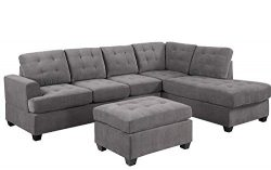 MOOSENG, 3-Piece Sectional Set with Chaise Lounge and Ottoman Mid Century Modern Living Room Fur ...