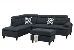 BOBKONA F6588 Sectional Sofa Set, Black