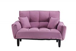 ALI VIRGO Simple Convertible Upholstered Plush Tufted Sofa,Settee Bedroom Bench,Chair Full Size  ...