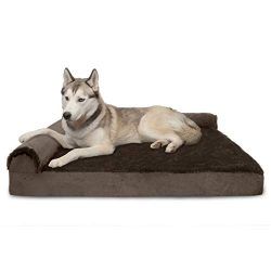 Furhaven Pet Dog Bed | Deluxe Memory Foam Plush Faux Fur & Velvet L Shaped Chaise Lounge Liv ...
