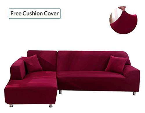L Shape Couch Covers, Anti-Slip Stain Resistant Sectional Slipcovers, Stretch Elastic Fabric L-S ...