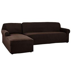 CHUN YI 2 Pieces L-Shaped 3 Seats Jacquard Polyester Stretch Fabric Sectional Sofa Slipcovers fo ...