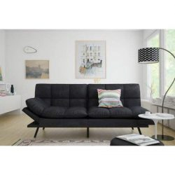 Mainstay.. Memory Foam Futon, Black Suede, Fabric, Wood, Metal + Free Clean Fabric Cloth (Black  ...