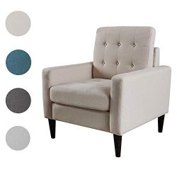 Top Space Accent Chair Living Room Chairs Arm Chair Single Sofa Upholstered Comfy Fabric Mid-Cen ...