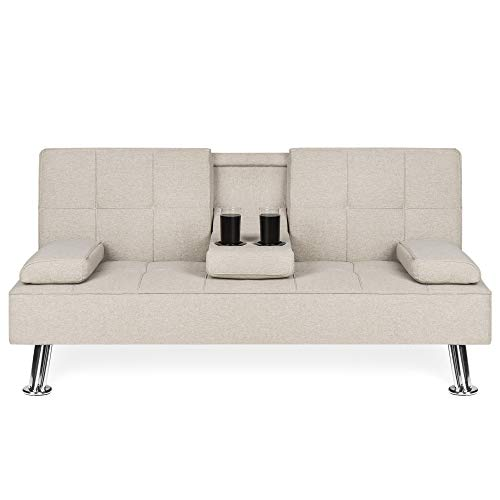 Best Choice Products Linen Upholstered Modern Convertible Folding Fuon Sofa Bed w/Metal Legs, 2  ...