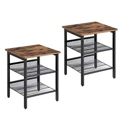 VASAGLE Industrial Nightstand, Set of 2 Side Tables, End Table with Adjustable Mesh Shelves, for ...