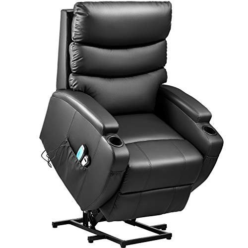 Kealive Lift Chair for Elderly Power Lift Recliner Chair with Massage and Heat Comfortable PU Le ...