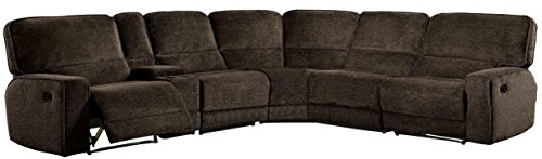 Homelegance Shreveport 6-Piece Sectional with Three Reclining Chairs, and Center Cup holders Con ...