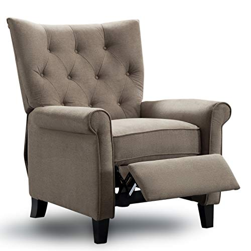 ANJ Accent Recliner Chair Easy to Push Mechanism, Single Chair with Roll Arm Elegant Khaki