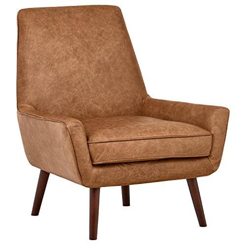 Rivet Leather Low Arm Accent Chair, Cognac –Jamie Mid-Century, 31″ W