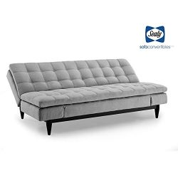 Sealy Montreal Transitional Convertible Sofa with Microfiber Upholstery in Gray