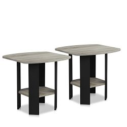 FURINNO 2-11180GYW Simple Design End Table, 2-Pack, French Oak Grey/Black