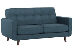 Rivet Sloane Mid-Century Modern Loveseat with Tufted Back, 64.2″W, Denim