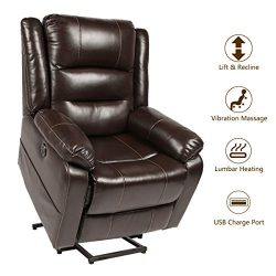 Esright Power Lift Chair Faux Leather Electric Recliner for Elderly, Heated Vibration Massage So ...