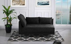 Upholstered 55.9″ inch Modern Living Room Linen Chaise Lounge (Black)