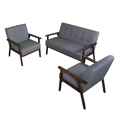 JIASTING Mid Century 1 Loveseat Sofa and 2 Accent Chairs Set Modern Wood Arm Couch and Chair Liv ...