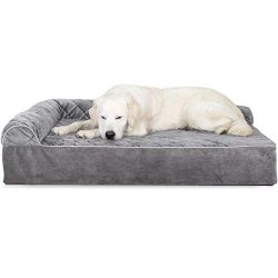Furhaven Pet Dog Bed | Deluxe Orthopedic Goliath Quilted Faux Fur & Velvet L Shaped Chaise L ...