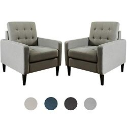 Top Space Accent Chair Living Room Chairs Arm Chair Single Sofa Upholstered Gray Comfy Fabric Mi ...