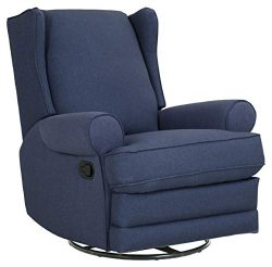 Ravenna Home Manning Swivel Base Recliner, 34.6″W, Blue