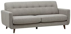 Rivet Sloane Mid-Century Modern Sofa with Tufted Back, 79.9″W, Pebble