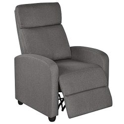 Yaheetech Fabric Recliner Sofa Modern Single Recliner Sofa Home Theater Seating with Thick Seat  ...