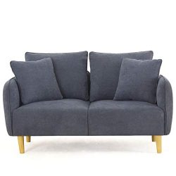 Unihome Fabric 2 Seat Sofa Love Seat Upholstered Couch Loveseat, Wooden Love Sofa for Small Spac ...