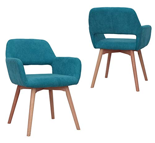 Modern Design Fabric Accent Chair Dining Chair W/Solid Wood Leg Living Room (Blue) Set of 2