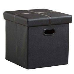 CANMOV Folding Storage Ottoman, Cubes Footrest, Toy Box, Puppy Step, Coffee Table with Hole Hand ...